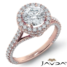 Circa Halo Pave Bridge Accent Round diamond engagement Ring in 18k Rose Gold