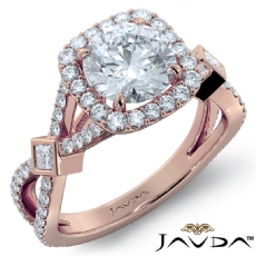 Criss Cross Halo Micro Pave Round diamond engagement Ring in 18k Rose Gold