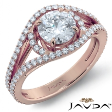 Pave Bypass Design Round diamond engagement Ring in 18k Rose Gold