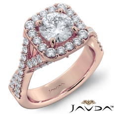 Micro Pave Bridge Cross Shank Round diamond engagement Ring in 18k Rose Gold