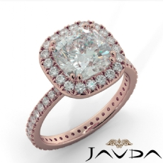 French V Pave Halo Eternity Cushion diamond engagement Ring in 18k Rose Gold
