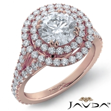 Double Halo French-Set Pave Round diamond engagement Ring in 18k Rose Gold