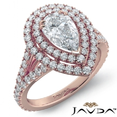 French V Pave Halo Split Shank Pear diamond engagement Ring in 18k Rose Gold