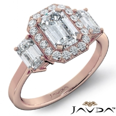 3 Stone Basket Halo Micro Pave Emerald diamond engagement Ring in 18k Rose Gold