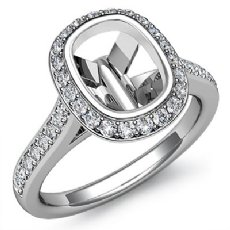 Diamond Engagement Ring 14k White Gold Cushion Semi Mount Halo Setting 0.80Ct