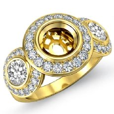 Round Side Diamond 3 Stone Engagement Ring Setting Semi Mount 14k Gold Yellow  (1.15Ct. tw.)