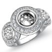 Round Side Diamond 3 Stone Engagement Ring Setting Semi Mount 14k White Gold 1.15Ct - javda.com