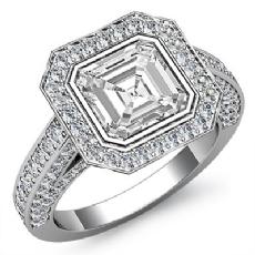 Halo Bezel Setting Sidestone Asscher diamond engagement Ring in 14k Gold White