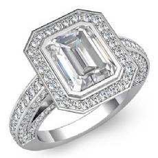Halo Bezel Setting Sidestone Emerald diamond engagement Ring in 14k Gold White