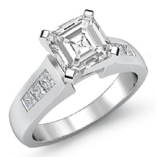 Classic Channel Side-Stone Asscher diamond engagement Ring in 14k Gold White