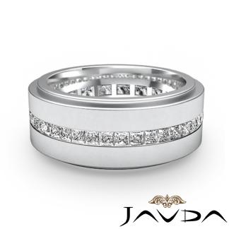 Mens Eternity Wedding Band Channel Set Princess Diamond Ring Platinum 950 17Ct