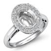 0.36Ct Halo Setting Diamond Engagement Ring 14k White Gold Oval Shape Semi Mount - javda.com