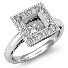 0.36Ct Halo Setting Diamond Engagement Princess Semi Mount Ring 14K White Gold