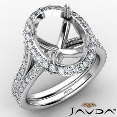 1.05Ct Halo Oval Semi Mount Diamond Engagement Ring Split Shank 14K White Gold