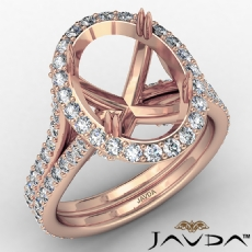 Halo Oval Semi Mount Diamond Engagement Ring Split Shank 14k Rose Gold (1.05Ct. tw.)