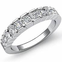 Round Channel Set Diamond Women's Half Wedding Band Ring 14k White Gold 0.65Ct