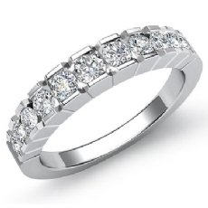 Round Channel Set Diamond Women's Half Wedding Band Ring Platinum 950  (0.65Ct. tw.)