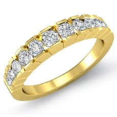 Round Channel Set Diamond Women's Half Wedding Band Ring 18k Gold Yellow  (0.65Ct. tw.)