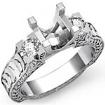 Round Diamond Three Stone Ring Vintage SemiMount Prong Setting 14k White Gold 0.35Ct - javda.com