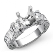 Round Diamond Three Stone Ring Vintage SemiMount Prong Setting 14k White Gold 0.35Ct - javda.com
