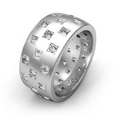 Checkered Design Men's Diamond Eternity Wedding Band 14k White Gold 1.35 Ct