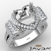 Vintage Halo Heart Semi Mount Diamond Engagement Ring 1.57Ct 14k White Gold - javda.com