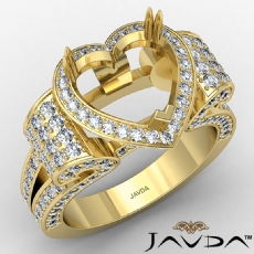 Vintage Halo Heart Semi Mount Diamond Engagement Ring  18k Gold Yellow (1.57Ct. tw.)