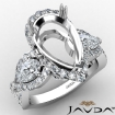 3 Stone Cross Shank Pear Semi Mount Diamond Engagement Ring 1.96Ct 14k White Gold - javda.com