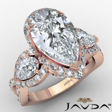 Crossover Three Stone Pave Pear diamond engagement Ring in 14k Rose Gold