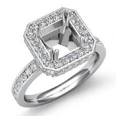 0.85CT Diamond Engagement Ring 14k White Gold Princess Semi Mount Halo Setting