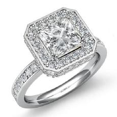 Circa Halo Micro Pave Basket Princess diamond engagement Ring in 14k Gold White