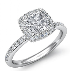 Halo Pave Basket Set Eternity Cushion diamond  Ring in 18k Gold White