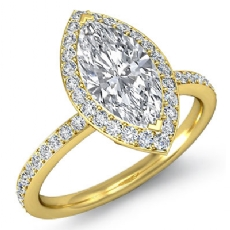 Halo Pave Basket Set Eternity Marquise diamond  Ring in 14k Gold Yellow