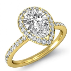 Micro Pave Set Halo Eternity Pear diamond engagement Ring in 14k Gold Yellow