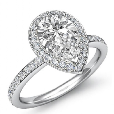 Micro Pave Set Halo Eternity Pear diamond engagement Ring in 14k Gold White