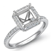 1Ct Diamond Engagement Asscher Cut Ring 14k White Gold Halo Setting Semi Mount - javda.com