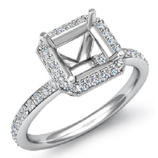 1.0Ct Diamond Engagement Asscher Cut Ring 14K White Gold Halo Setting Semi Mount