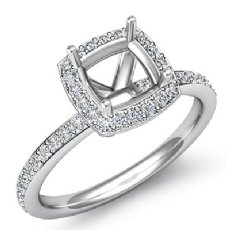 1Ct Diamond Engagement Ring Cushion Shape Semi Mount 14K White Gold Halo Setting