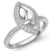 1Ct Diamond Engagement Marquise Shape Ring 14k White Gold Halo Setting SemiMount - javda.com