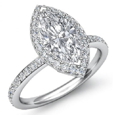 Basket Halo Pave Eternity Marquise diamond engagement Ring in 14k Gold White