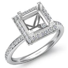 1Ct Diamond Engagement Ring Princess Cut Semi Mount 14K White Gold Halo Setting