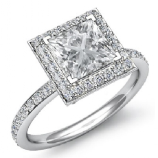 Halo Micro Pave Set Eternity Princess diamond engagement Ring in 14k Gold White