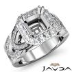 Diamond Engagement Halo Pave Setting 14k White Gold Asscher Semi Mount Ring 1.3Ct - javda.com