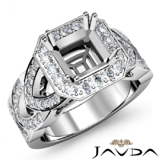 Diamond Engagement Halo Pave Setting 14K W Gold Asscher Semi Mount Ring 1.30Ct