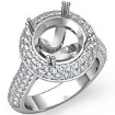 Diamond Engagement Ring Halo Pave Setting 14k White Gold Round Semi Mount 1.5Ct - javda.com