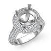 Diamond Engagement Ring Halo Pave Setting 14k White Gold Round Semi Mount 1.5Ct - javda.com