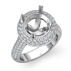 Diamond Engagement Ring Halo Pave Setting 14k White Gold Round Semi Mount 1.5Ct