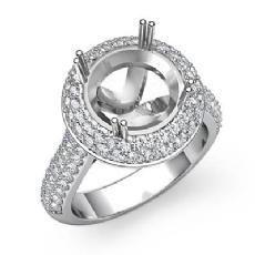 Diamond Engagement Ring Halo Pave Setting Platinum 950 Round Semi Mount  (1.5Ct. tw.)