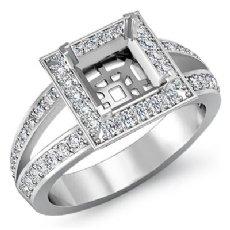 0.55C Diamond Engagement Ring Halo Setting 14k White Gold Princess Semi Mount