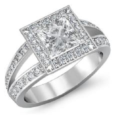 Filigree Split Shank Halo Princess diamond engagement Ring in 14k Gold White